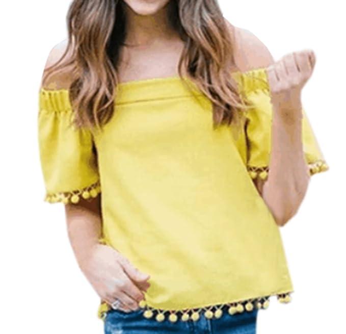 Legendaryman Verano Mujeres Camisetas Casual Colores Lisos T-Shirts con Pequeña Bola de Pelo Top