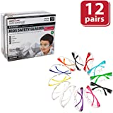 SAFE HANDLER Kids Protective Safety Glasses, Clear Polycarbonate Impact and Ballistic Resistant Lens - Color Temple, Child Size (Box of 12) - Variety Pack