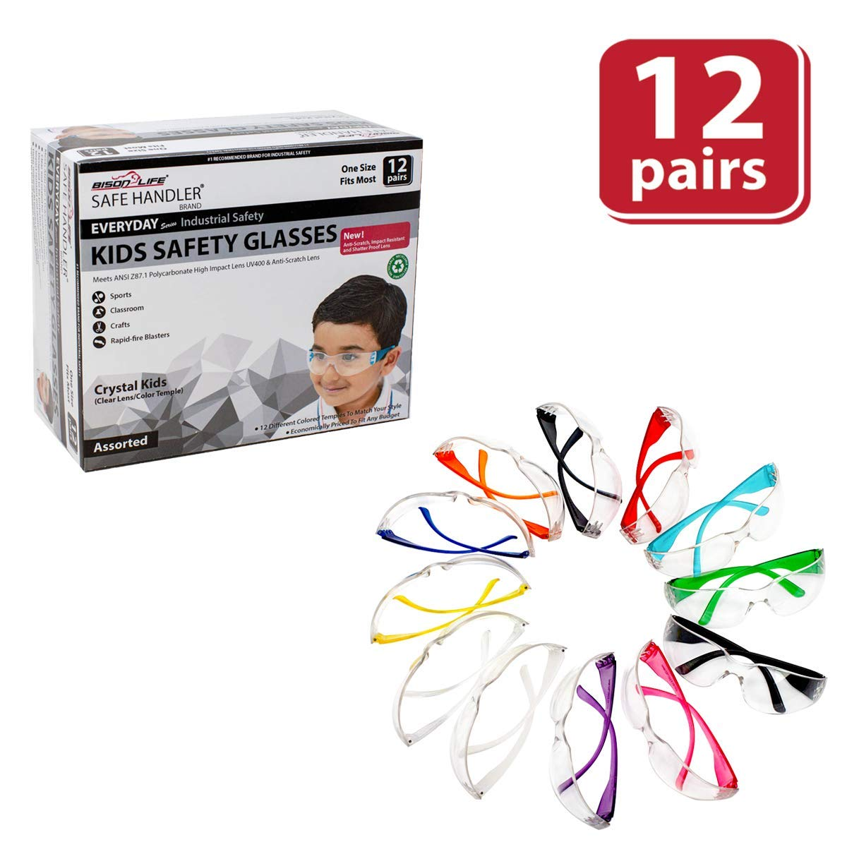 BISON LIFE Kids Protective Safety Glasses | Impact and Ballistic Resistant Lens, Clear Polycarbonate Lens Color Temple, Child Youth Size (Box of 12 Colors - Variety Pack) by BISON LIFE