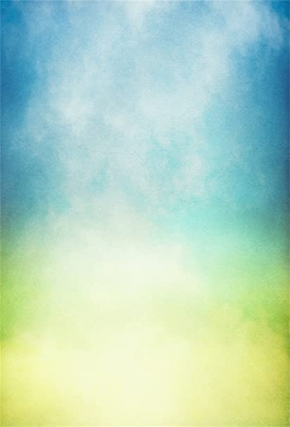Lfeey 5x7ft Abstract Gradient Blue Green Backdrop Grunge Shade Old Rustic Faded Watercolor Shadow Photography Background Blur Solid Color Props Blog