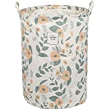 UUJOLY Collapsible Laundry Basket, Laundry Hamper with Handles Waterproof Round Cotton Linen Laundry Hamper Printing…