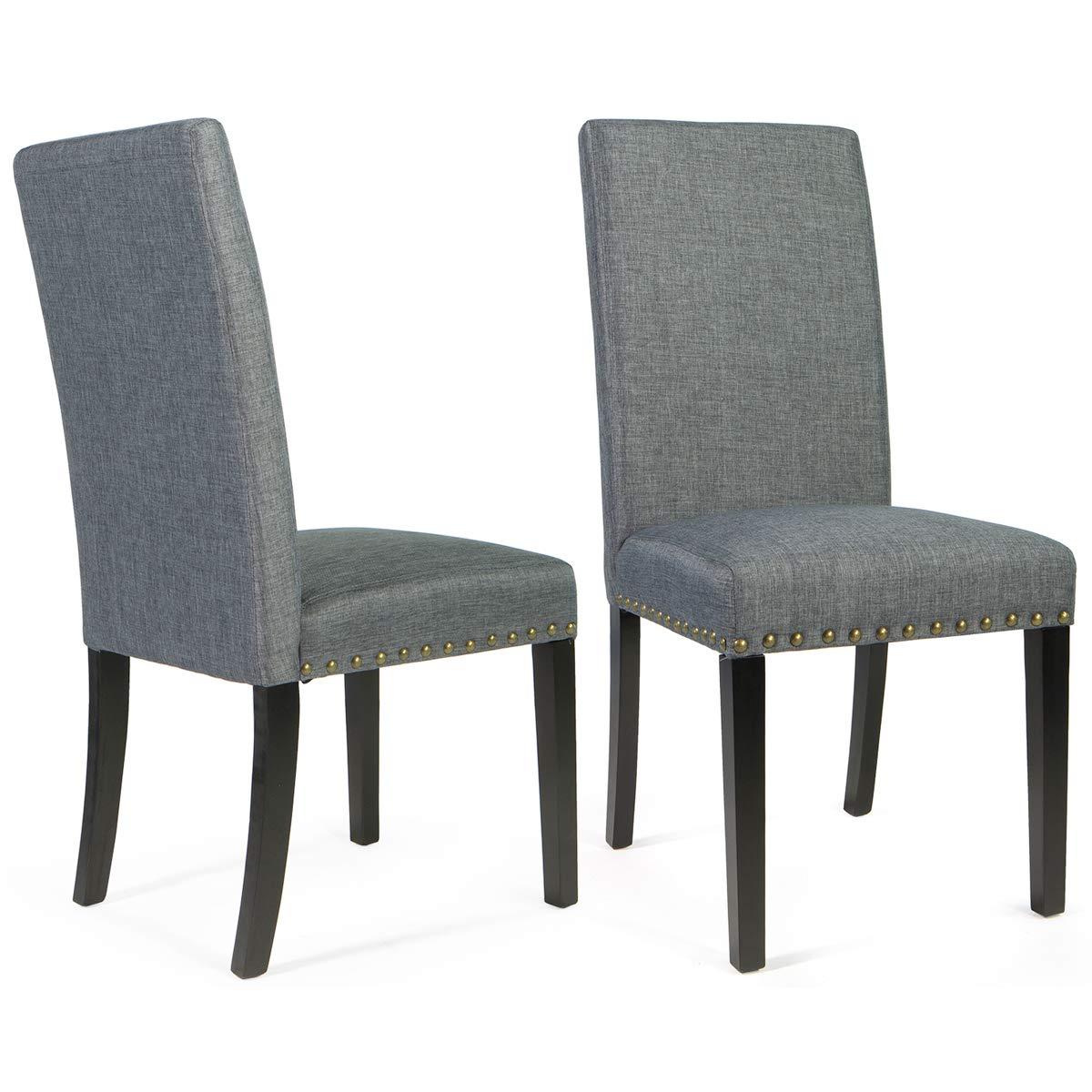 Barton Fabric Stylish Dining Chair Furniture with Nailhead Trim, Set of 2, Grey Medium
