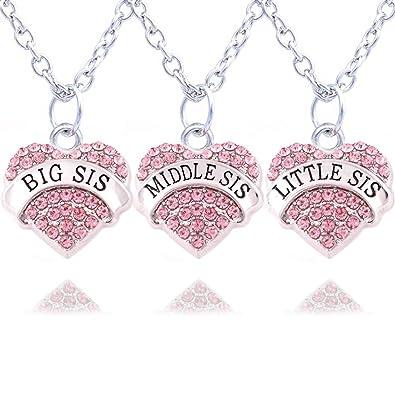 2pcs Women Family Jewellery Set Silver Alloy Pink Crystal Love Heart Big Little Sister Pendant Necklace Z5HeZrbfl