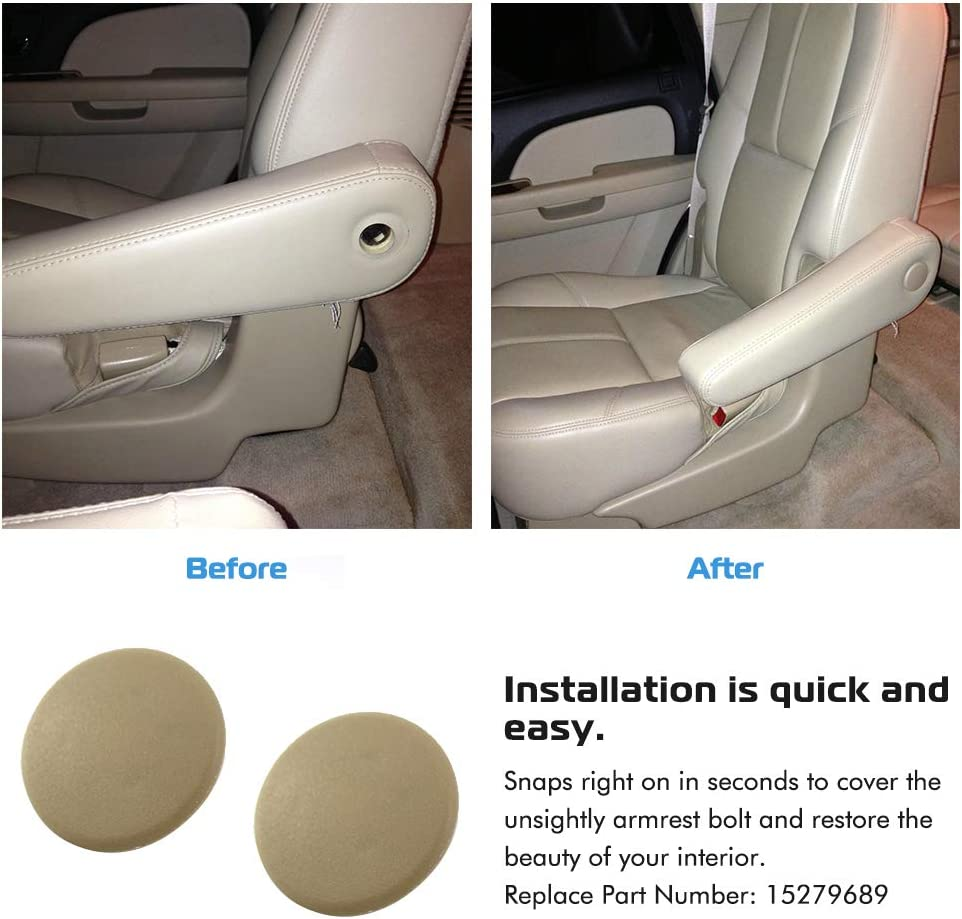 Cadillac Escalade Seat Parts Left or Right Rear Bucket Seats Arm Rest Handle Trim Bolt Replaces 15279689 Suburban A ABIGAIL Armrest Cap Cover for 2007-2019 Chevy Tahoe Beige Yukon