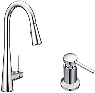 Moen 7864 Sleek One Handle High Arc Pulldown Kitchen Faucet Featuring Reflex 7864 Chrome With Kitchen Soap And Lotion Dispenser Amazon Com