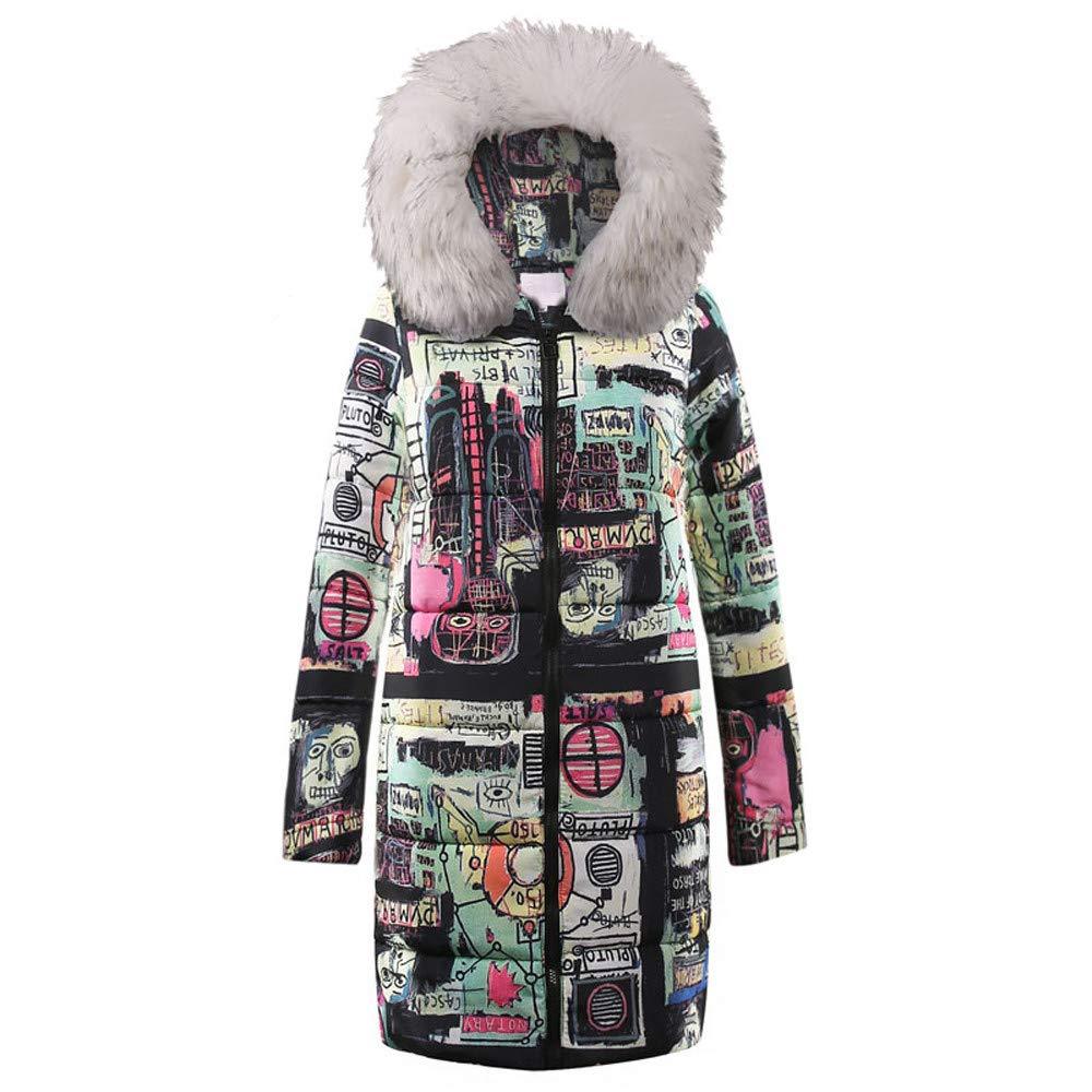 Rovinci☆ Abrigos para Mujer Invierno Cálido Largo Color de Abajo Impreso para Mujer Parka Abrigos con Capucha Bolsillos Acolchados Chaqueta Outwear: ...