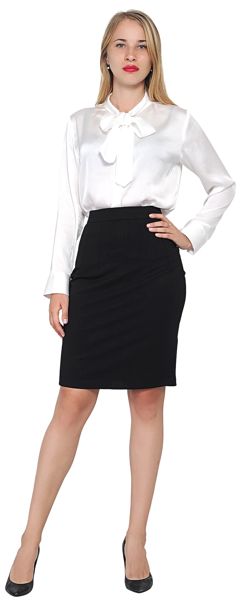Marycrafts Women's Work Office Business Pencil Skirt L Black