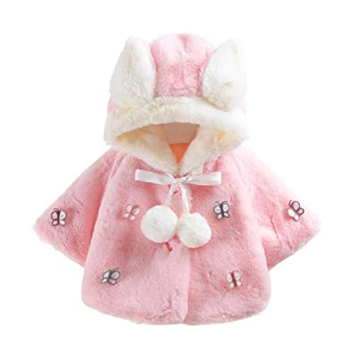 FEITONG Baby Infant Girls Boys Autumn Winter Hooded Coat Cloak Jacket Thick Warm Clothes (12Months, Pink)