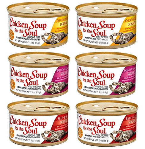 Chicken Soup for the Soul Grain Free Cat Food 3 Flavor 6 Can Bundle: (2) Chicken Souffle, (2) Salmon Souffle, and (2) Beef Souffle, 3 ounces each