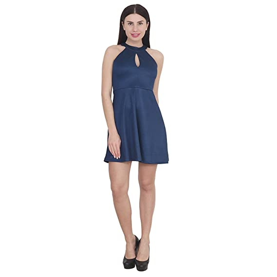 My Swag Women s Halter Neck Blue Color Solid Sleeveless Party Wear Skater  Dress Small Size 1d9beb32f