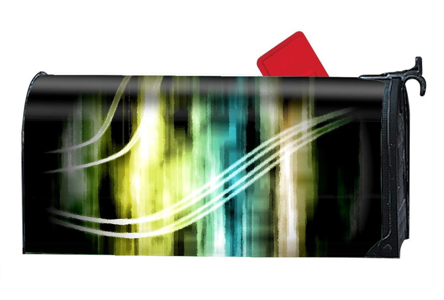 Verna Christopher Magnetic Mailbox Cover - Abstract Light Shapes Colors Texture Fractal Artistic Themed,Decorative Mailbox Wrap for Standard Size