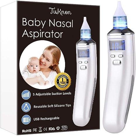 Aspirador Nasal para bebés, Aspiradores Nasales, Aspirador de Nasal Eléctrico, Pantalla LCD de carga USB con 5 niveles de succión 4 tamaños Puntas de silicona, Portátil aspirador nasal para recién: Amazon.es: Bebé
