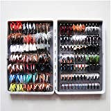WET DRY FLIES FISHING LURE, WS 168PCS KIT FLY TYING MATERIAL NYMPH WET HAND TIED FLIES FOR TROUT PIKE GRAYLING