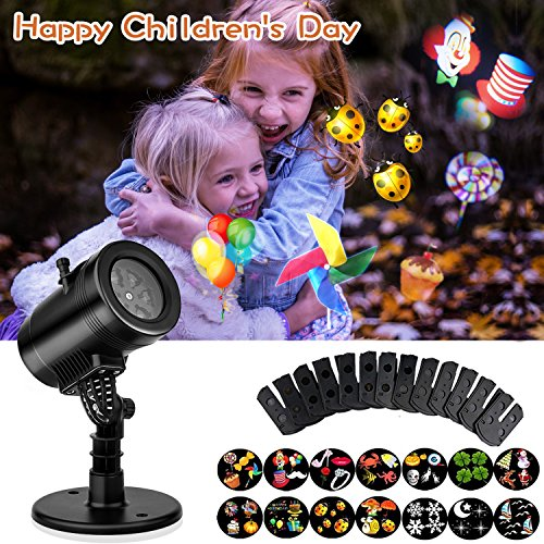 Led Projector Lights Waterproof 14 Moving Pattern Snowflake Star Holiday Shower Projector Outdoor Indoor Slides Show Projection Decoration Lighting for Xmas Birthday Wedding (Halloween Party Dc 2017)