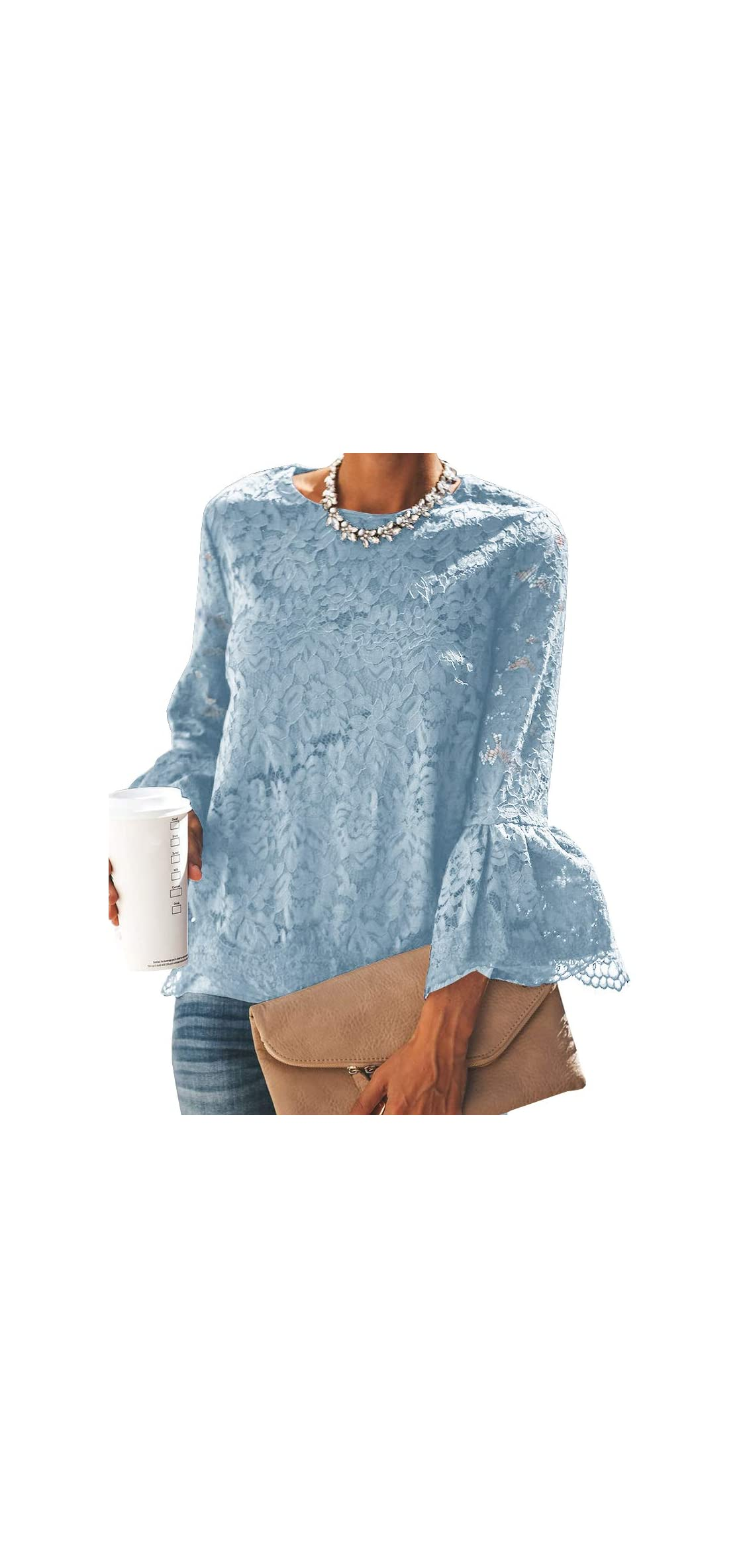 Womens Floral Lace Blouse Bell Sleeve Vintage Lace Tops