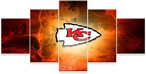 PEACOCK JEWELS Large Premium Quality Canvas Printed Wall Art Poster 5 Pieces 5 Pannel Wall Decor Kansas City Chiefs Painting, Home Decor Pictures – Stretched
