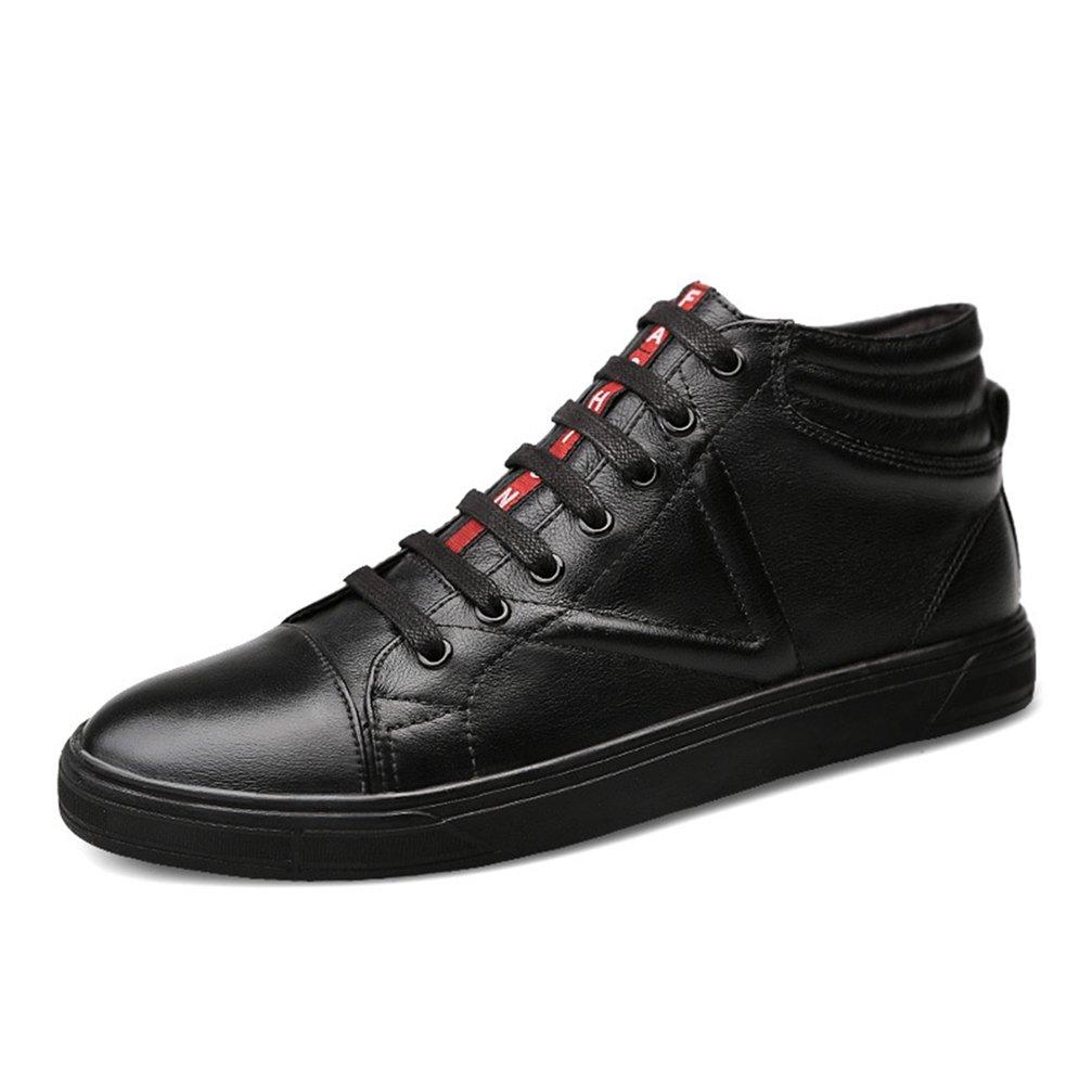 [ムリョ]ハイカット スケートボードシューズ デッキシューズ メンズ スケートボードシューズ 通気性 牛革 デッキシューズ 通学 学生 カジュアル 靴 メンズ シューズ ハイ ブーツ スニーカー 革靴 ストリート 黒 白色 B07F1CLHNP 26.5 cm ブラック