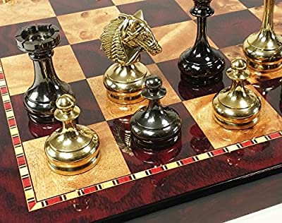 Real Brass Metal Staunton Bridled Knight Chess Set Gold and Black Chrome With Cherry Color Board