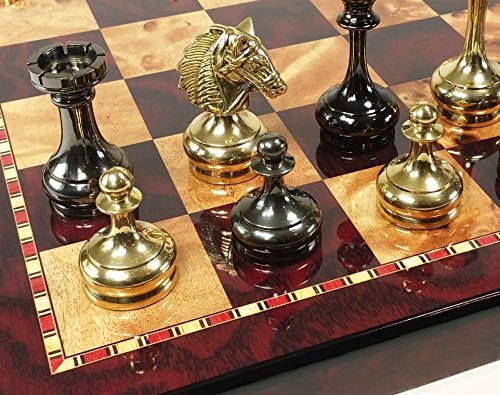 HPL Real Brass Metal Staunton Bridled Knight Chess Set Gold and Black Chrome with Cherry Color Board