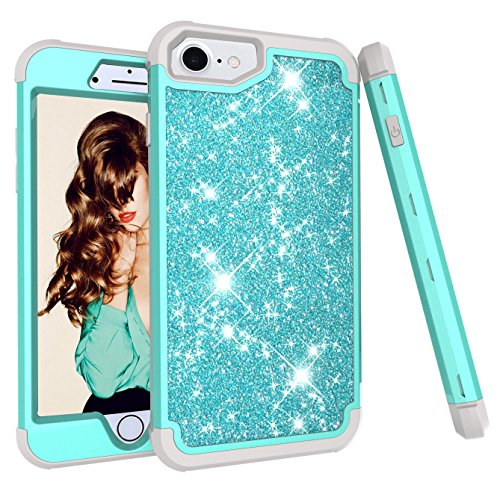iPhone 8 Case,iPhone 7 case, Ankoe 3D Luxury Glitter Sparkle Bling Shiny Hybrid Sturdy Armor Defender High Impact Shockproof Protective Cover Case for iPhone 7 iPhone 8 (Mint Gray) (9' Plate Green Accent)