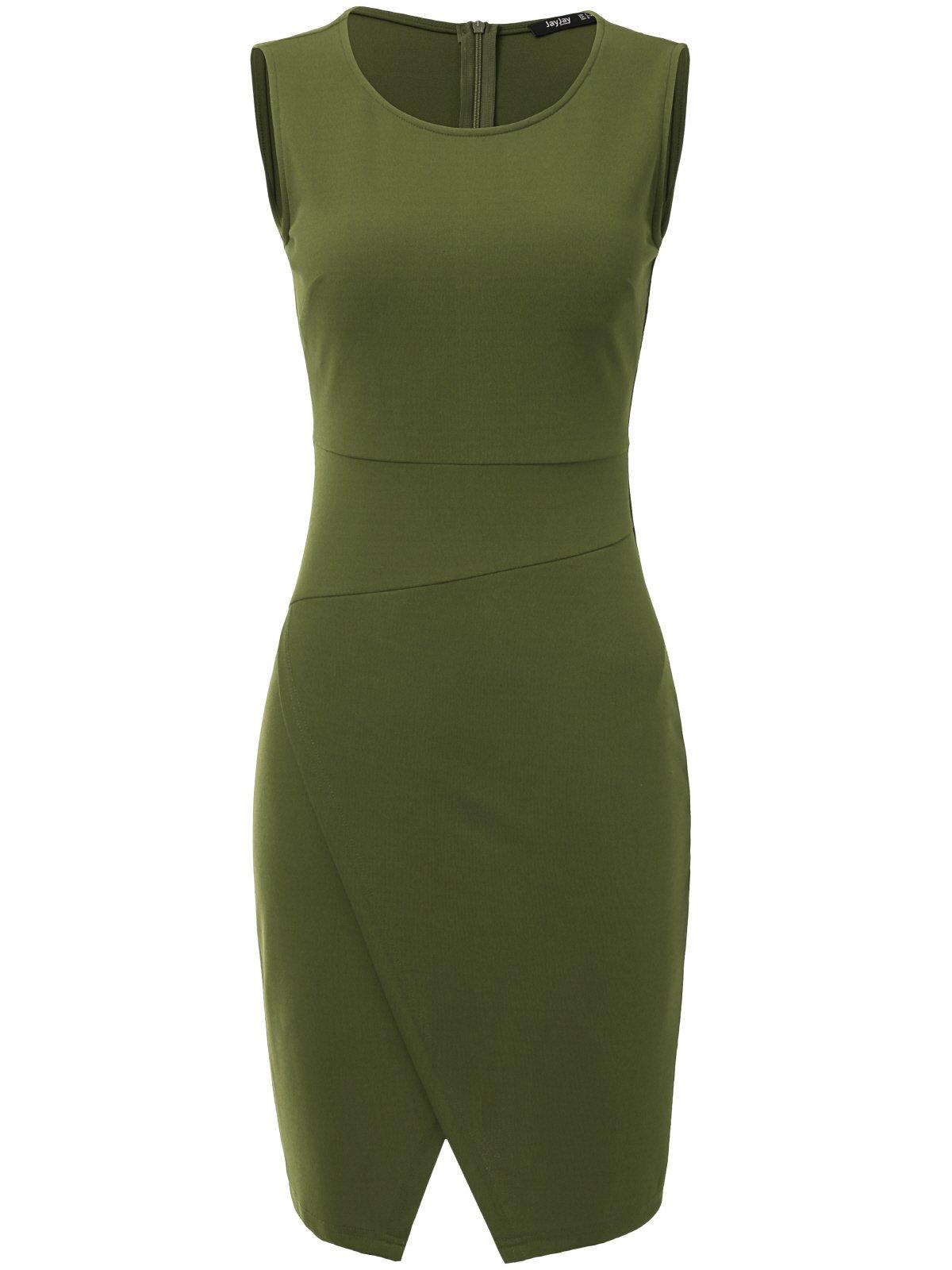JayJay Women Wear to Work Business Sleeveless Slim Cocktail Pencil Wrap Skirt Dress,ArmyGreen,S