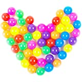 Fanuk Colorful Fun Phthalate Free BPA Free Crush Proof Balls Soft Plastic Air-Filled Ocean Ball Pit Balls for Baby Kids Tent Swim Toys Ball Pack of 50