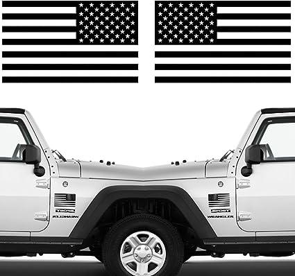 2 US Flag Vinyl Decals fits Jeep Wrangler American Flag USA Hood Window Body