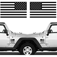 """Die Cut Subdued Matte Black American Flag Sticker 3"""" X 5"""" Tactical Military Flag USA Decal Great for Car, Hard Hat. Car…"""