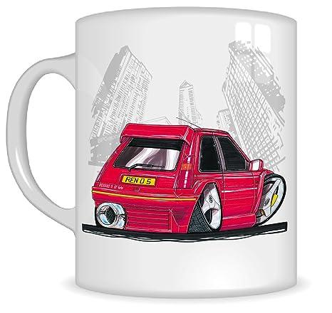 Taza con asa, diseño con caricatura de Renault GT Turbo, de Koolart