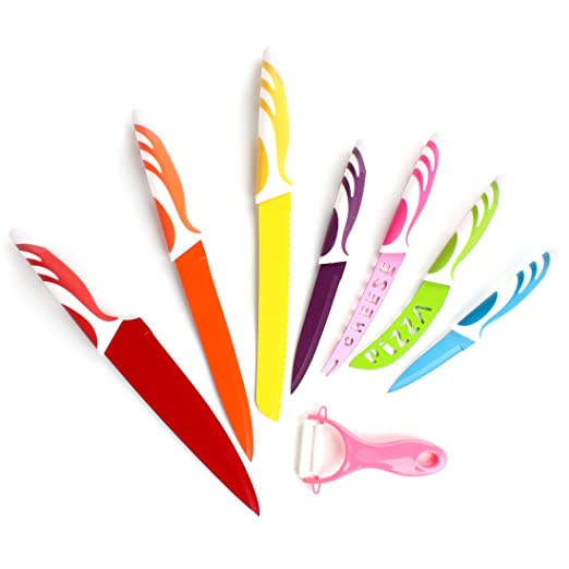 Colorful Stainless Steel Knife Set Super Sharp Chef Cooking Kitchen Knives 8pc Colorful Cutlery Set Multicolor