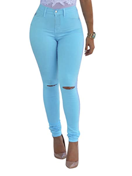 WOWU Mujeres Pantalones Vaqueros Lápiz Pantalones Agujero Moda Pantalones  Chica Pantalones  Amazon.es  Ropa y accesorios 994abc1a744b