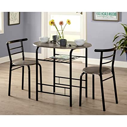 Amazoncom Tall Round Bistro Table Set 3 Piece Gray Dining Table