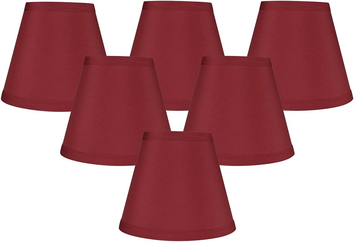 Meriville Set of 6 Burgundy Faux Silk Clip On Chandelier Lamp Shades, 3-inch by 5-inch by 4.75-inch