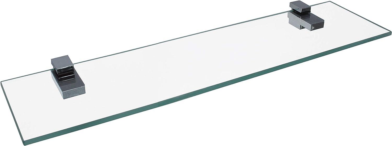 : ca B x T FACKELMANN Glasablage 60 cm//Wandregal f/ür Badaccessoires//Ma/ße 60 x 12 cm//Wandablage mit 6 mm St/ärke//hochwertiges Glasregal mit Halterungen//Wandregal f/ürs Bad//Badregal f/ürs WC