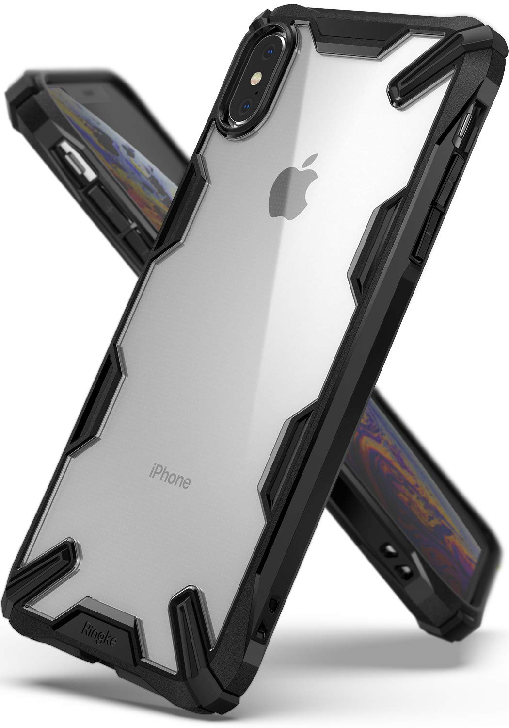 Ringke [Fusion-X] Compatible with iPhone Xs Max Case Ergonomic Transparent [Military Drop Tested Defense] Hard PC Back TPU Bumper Impact Resistant Cover for Apple iPhone Xs Max 6.5'' (2018) - Black