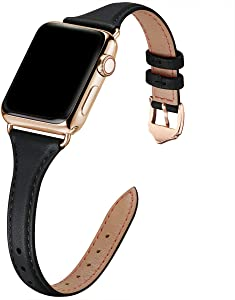 WFEAGL Leather Bands Compatible with Apple Watch 38mm 40mm 42mm 44mm, Top Grain Leather Band Slim & Thin Replacement Wristband for iWatch SE & Series 6/5/4/3/2/1 (Black/Gold, 38mm 40mm )