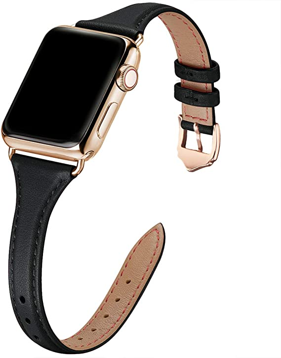 WFEAGL Correa para Correa Apple Watch 38mm 40mm 42mm 44mm, Correa de Repuesto de Cuero Multicolor para iWatch Serie 5 Serie 4/3/2/1(38mm 40mm,Negro/Oro): Amazon.es: Electrónica