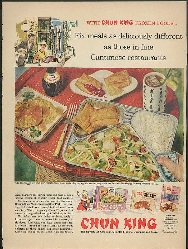 Fix meals deliciously different Chun King TV Dinners ad 1958