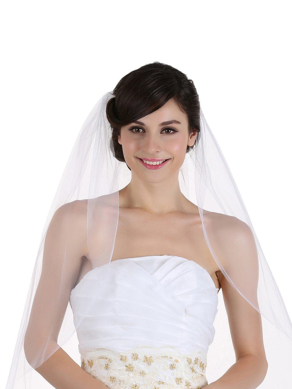 1T 1 Tier Raw Cut Edge Wedding Veil - Ivory Cathedral Length 108'' V219