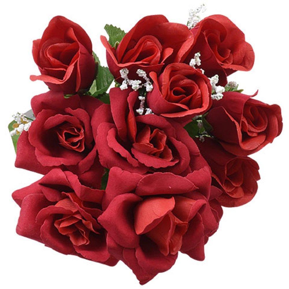 6pc Fake (Artificial) Flowers Set, 5-Stem Floral Garden Red Velvety Roses, 14 in.