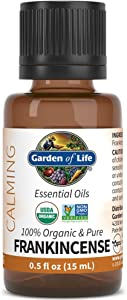 Garden of Life Essential Oil, Frankincense 0.5 fl oz (15 mL), 100% USDA Organic & Pure, Clean, Undiluted & Non-GMO - for Diffuser, Aromatherapy, Meditation, Skincare - Calming, Uplifting, Soothing