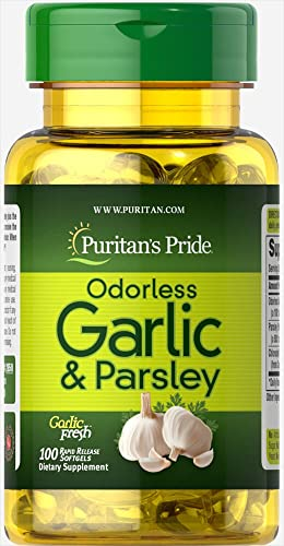 Puritan's Pride Odorless Garlic Parsley 500 mg 100 mg-100 Rapid Release Softgel
