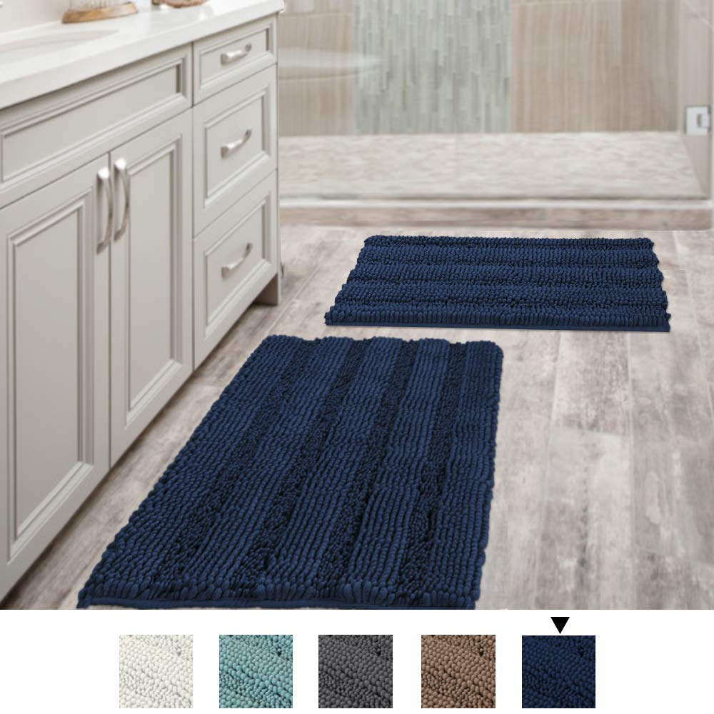 Navy Blue Bathroom Rugs Slip-Resistant Extra Absorbent Soft and Fluffy Striped Bath Mat Set Chenille Bath Rugs, Floor Mats Dry Fast Machine Washable (Set of 2-20'' x 32''/17'' x 24'')