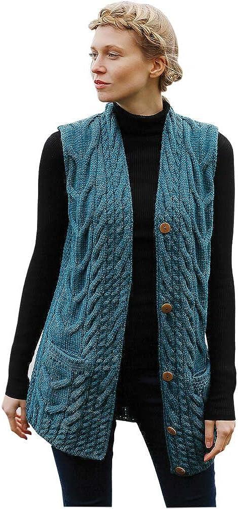 Made in Ireland Womens Aran Wool Waistcoat 100/% Irish Wool