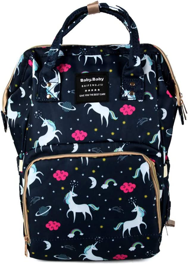 Dark-Blue Nappy Changing Bag Multi-Function Waterproof Travel Daypack Large Capacity Mummy Bag Cute Unicorn Pattern for Mom Baby Baby Diaper Backpack