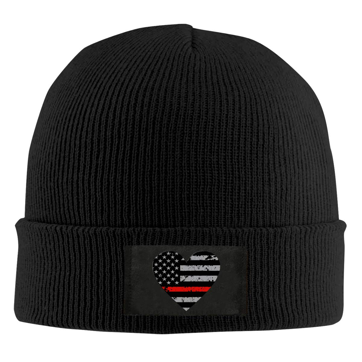 Thin Red Line Heart Firefighter Unisex Knitted Hat Stretchy Skull Cap