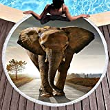 Sleepwish Thick Round Beach Towel Terry, Elephant Beach Blanket, Beach Roundie Circle Yoga Mat with Fringe, Bohemian Elephant Beach Tapestry (Africa Elephant, 60'')