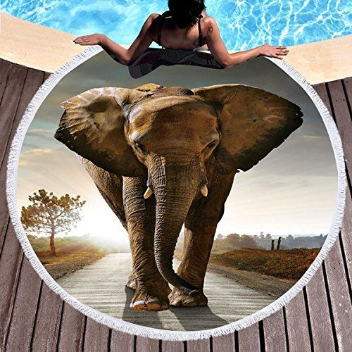 Sleepwish Thick Round Beach Towel Terry, Elephant Beach Blanket, Beach Roundie Circle Yoga Mat with Fringe, Bohemian Elephant Beach Tapestry (Africa Elephant, 60'') by Sleepwish