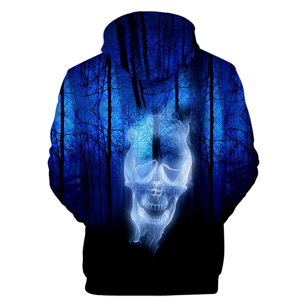 charmsamx Men's Sweatshirt Halloween Series Printed Hoodie Long Sleeve Hooded Sweatshirt Horror Pullover Sweatshirts (Navy, XXXXL) by charmsamx