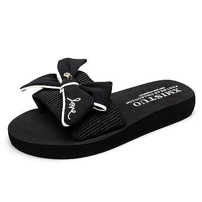 2f807d3186304f GIY Women Fashion Bowknot Bohemian Platform Slide Sandals Flat Anti-Slip  Outdoor Summer Beach Sandals